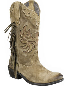 Roper Tan Fringe Cowgirl Boots - Round Toe, Tan, hi-res