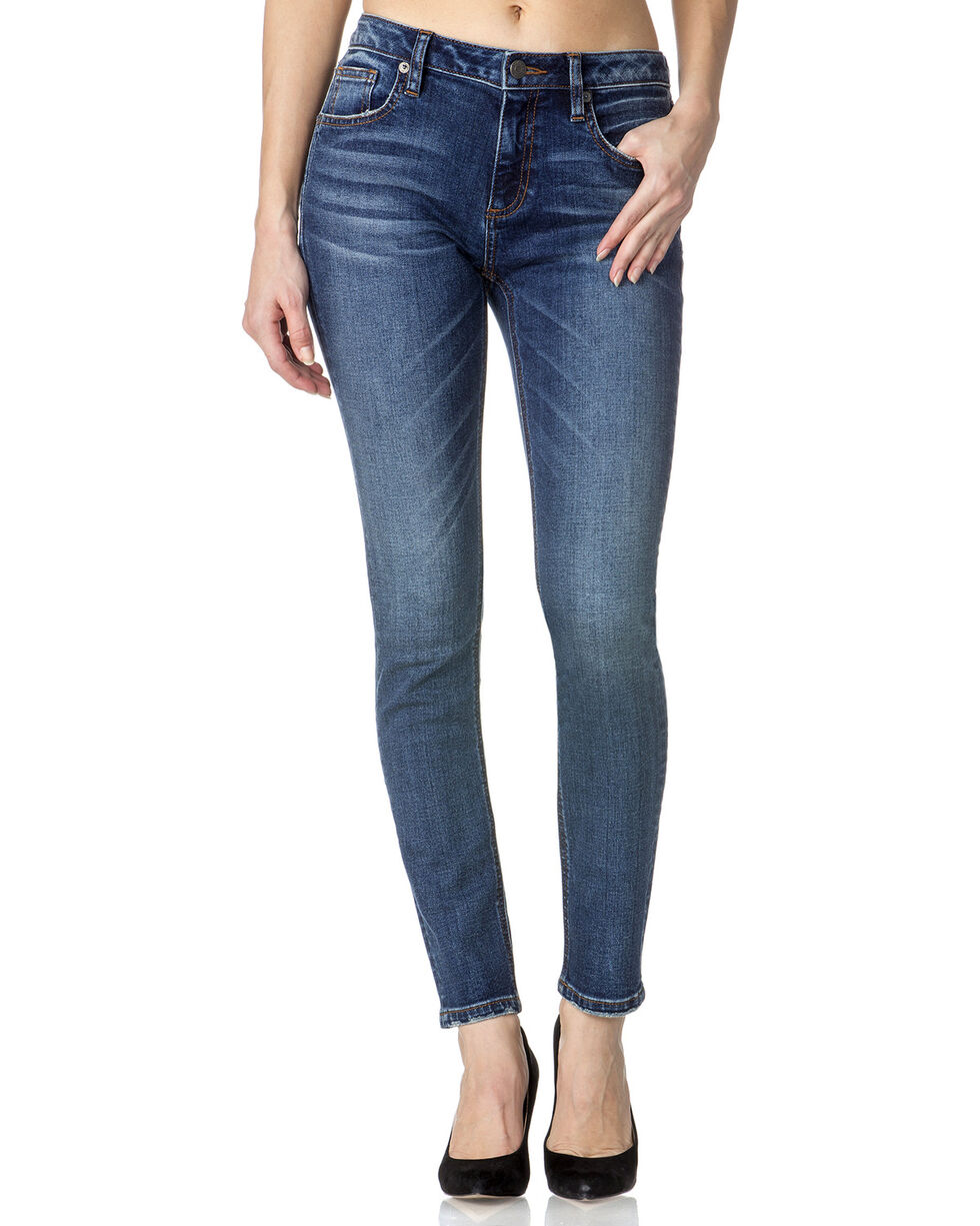 Miss Me Women's Bare It All Mid-Rise Skinny Jeans , Indigo, hi-res