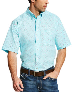 Ariat Men's Teal Geno Print Short Sleeve Shirt - Tall , Teal, hi-res