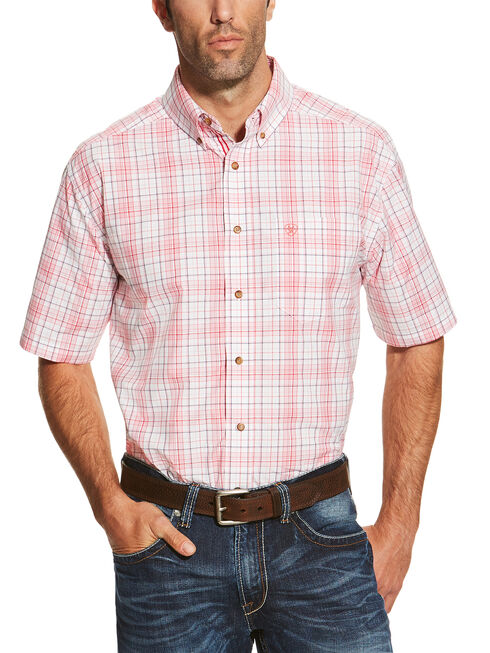 Ariat Men's Coral Nolan Short Sleeve Shirt , Coral, hi-res
