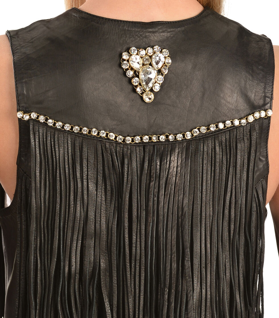 Kobler Leather Women's Yucaipa Fringe & Rhinestone Leather Vest, Black, hi-res