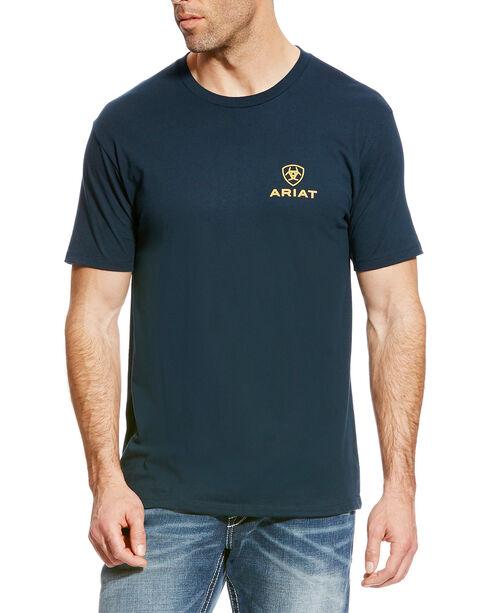 Ariat Men's Navy Corporate Logo Athletic T-Shirt , Navy, hi-res