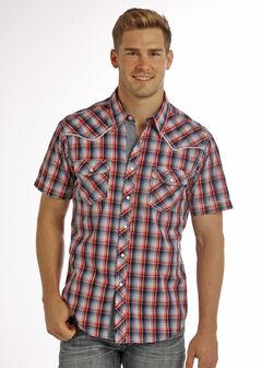 Rock & Roll Cowboy Men's Blue Crinkle Wash Short Sleeve Plaid Shirt , , hi-res