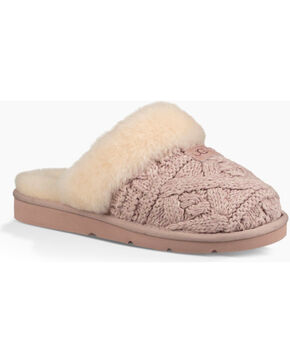 UGG Women's Fawn Cozy Cable Knit Slippers , Beige/khaki, hi-res