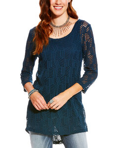 Ariat Women's Nori Side Slit Lace Tunic, Navy, hi-res