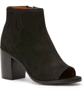 Frye Women's Black Danica Peep Booties - Round Toe , Black, hi-res