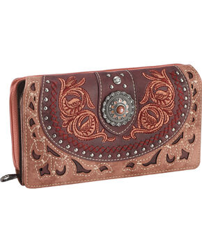 Montana West Women's Pink Embroidered Trifold Wallet , Pink, hi-res