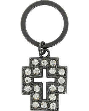Shyanne Women's Rhinestone Cross Key Chain , Black, hi-res