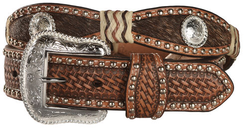 Nocona Scalloped Hair on Hide Basketweave Concho Leather Belt, Tan, hi-res