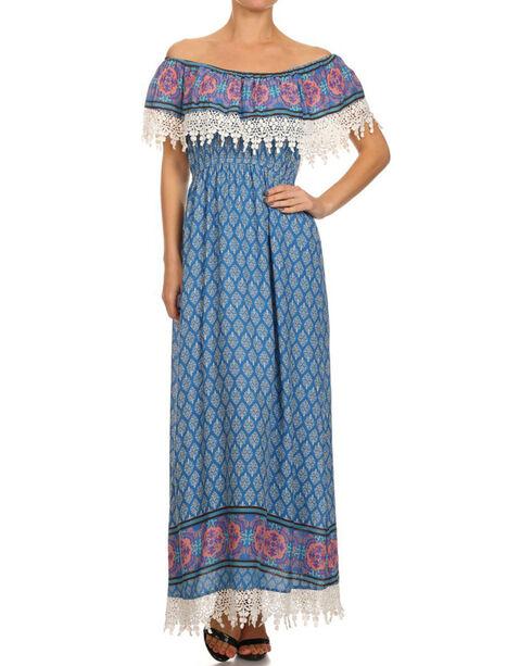 Freeway Apparel Women's Off The Shoulder Maxi Dress , Blue, hi-res