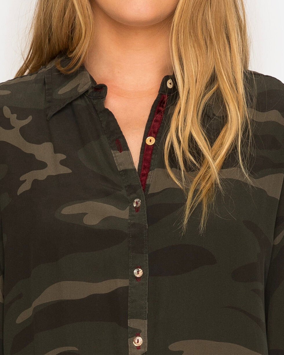 Johnny Was Women's Camo Terre Velvet Embroidered Shirt , Camouflage, hi-res