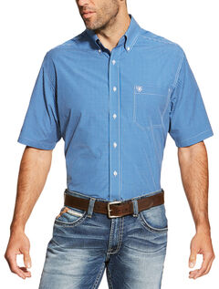 Ariat Men's Blue Brian Short Sleeve Shirt, Blue, hi-res