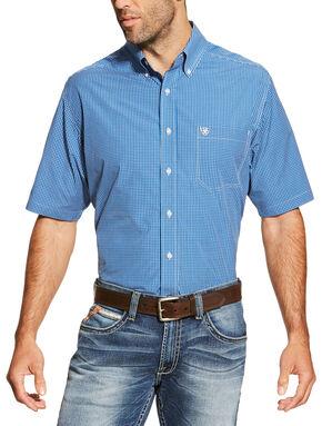 Ariat Men's Blue Brian Short Sleeve Shirt, Blue, hi-res