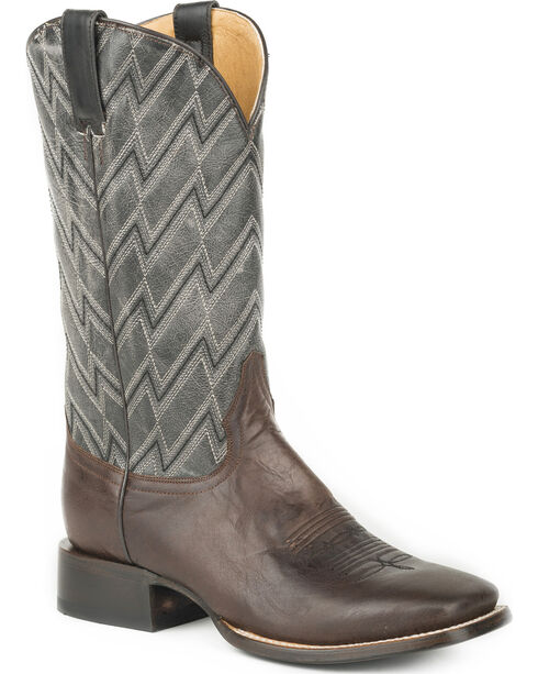 Roper Men's Brown Chevron Western Boots - Square Toe , Brown, hi-res