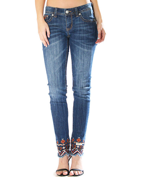 Grace in LA Women's Aztec Embroidered Jeans - Skinny , Indigo, hi-res