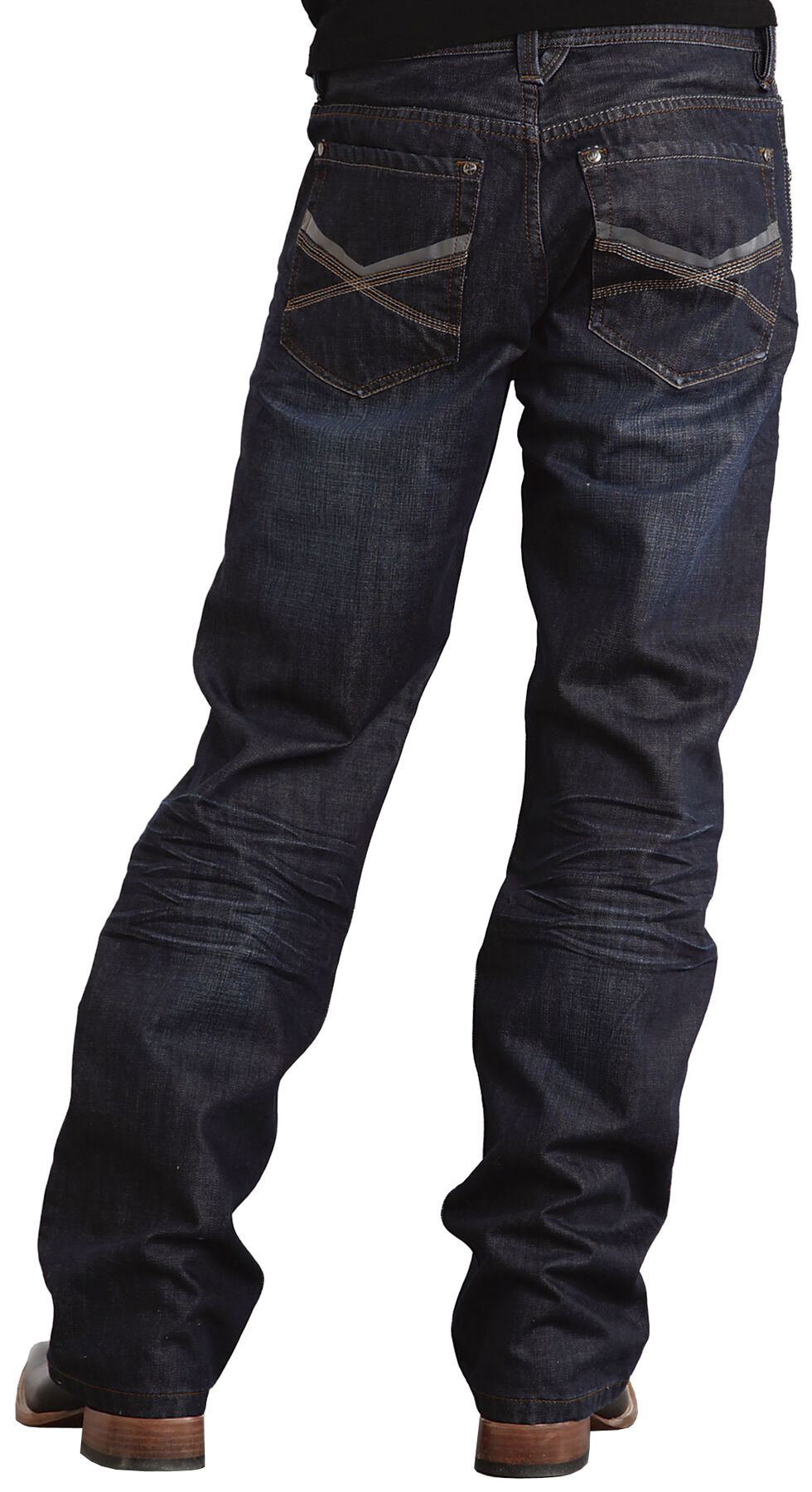 """Stetson Modern Fit Deco Double """"X"""" Stitched Jeans, Dark Stone, hi-res"""