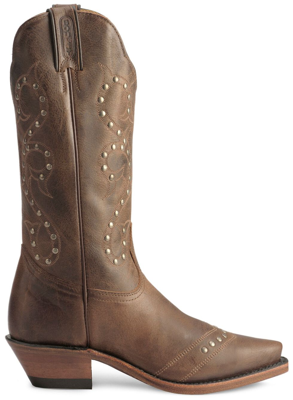 Boulet Studded & Distressed Leather Cowgirl Boots - Snip Toe, Tan, hi-res