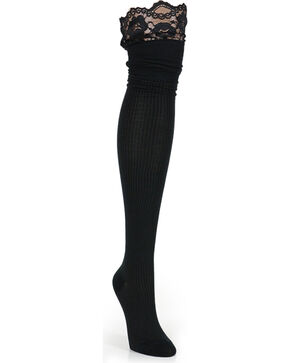 K. Bell Women's Black Ribbed Lace Top Over The Knee Socks , Black, hi-res