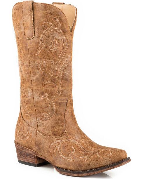 Roper Women's Tan Riley Vintage Western Boots - Snip Toe, Tan, hi-res