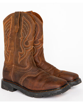 Cody James Men's Western Work Boots - Square Toe, Brown, hi-res