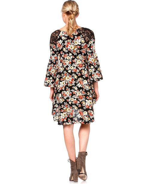 Miss Me Lace Inlay Floral Print Dress, Black, hi-res