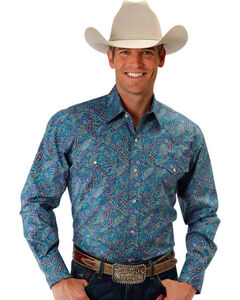 Roper Men's Aquamarine Antique Paisley Long Sleeves Snap Shirt, Turquoise, hi-res