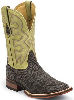 Nocona Beige Nubuck Shark Let's Rodeo Western Boots - Square Toe , , hi-res