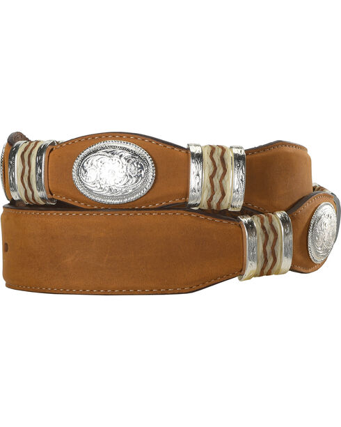 Tony Lama Scalloped Leather Belt, Brown, hi-res