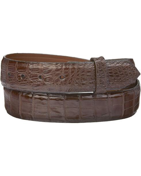 Lucchese Men's Sienna Caiman Ultra Belly Leather Belt, Sienna, hi-res