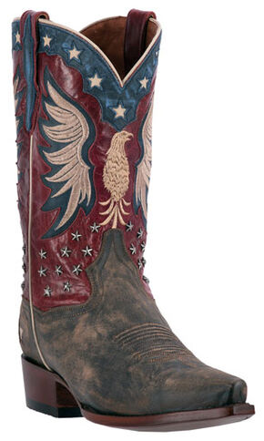Dan Post Patriotic Bountiful Cowboy Boots - Snip Toe , Brown, hi-res