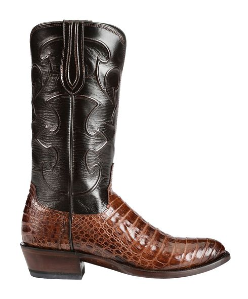 Lucchese Handcrafted 1883 Caiman Belly Cowboy Boots - Round Toe, Sienna, hi-res