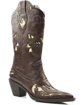 Roper Snake Print Inlay Cowgirl Boots - Pointed Toe, Brown, hi-res