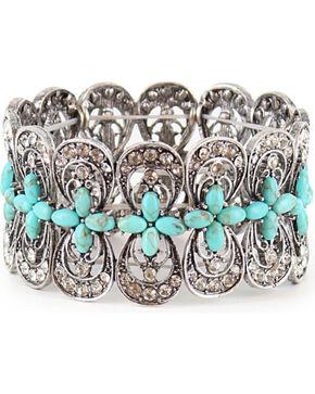 Shyanne Women's Turquoise Cross Stretch Bracelet, Silver, hi-res