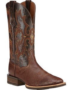 Ariat Men's Tombstone Smooth Ostrich Western Boots - Square Toe, Dark Brown, hi-res