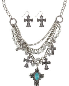 Shyanne Women's Engraved Crosses Jewelry Set, Silver, hi-res