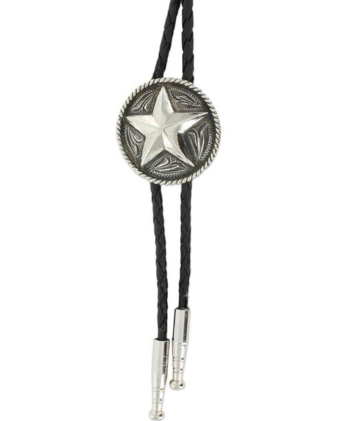 Cody James® Men's Sheriff Star  Bolo Tie, Silver, hi-res