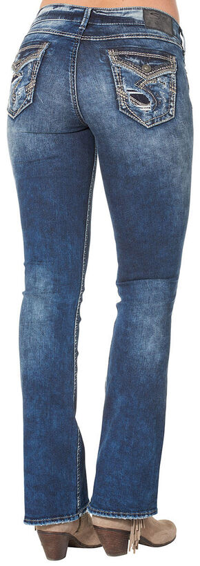 Silver Women's Elyse Mid Dark Wash Bootcut Jeans - Plus Size, Blue, hi-res