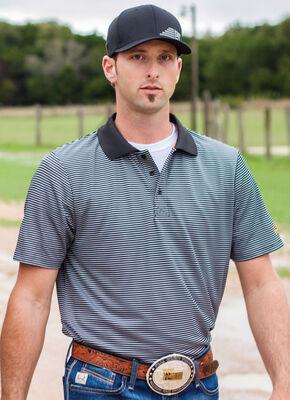 CInch Men's Black Striped Short Sleeve Polo Shirt, Black, hi-res