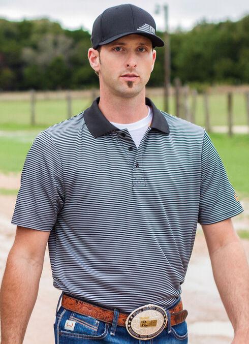 CInch Men's Black Striped Short Sleeve Polo Shirt, , hi-res
