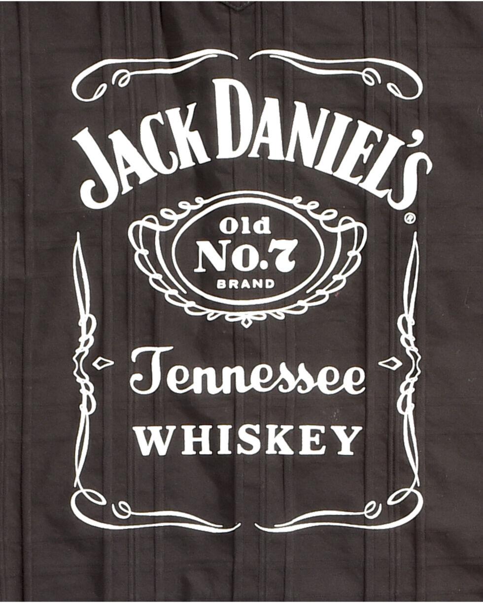 Jack Daniel's Men's Black Tonal Stripe Logo Western Shirt , Black, hi-res