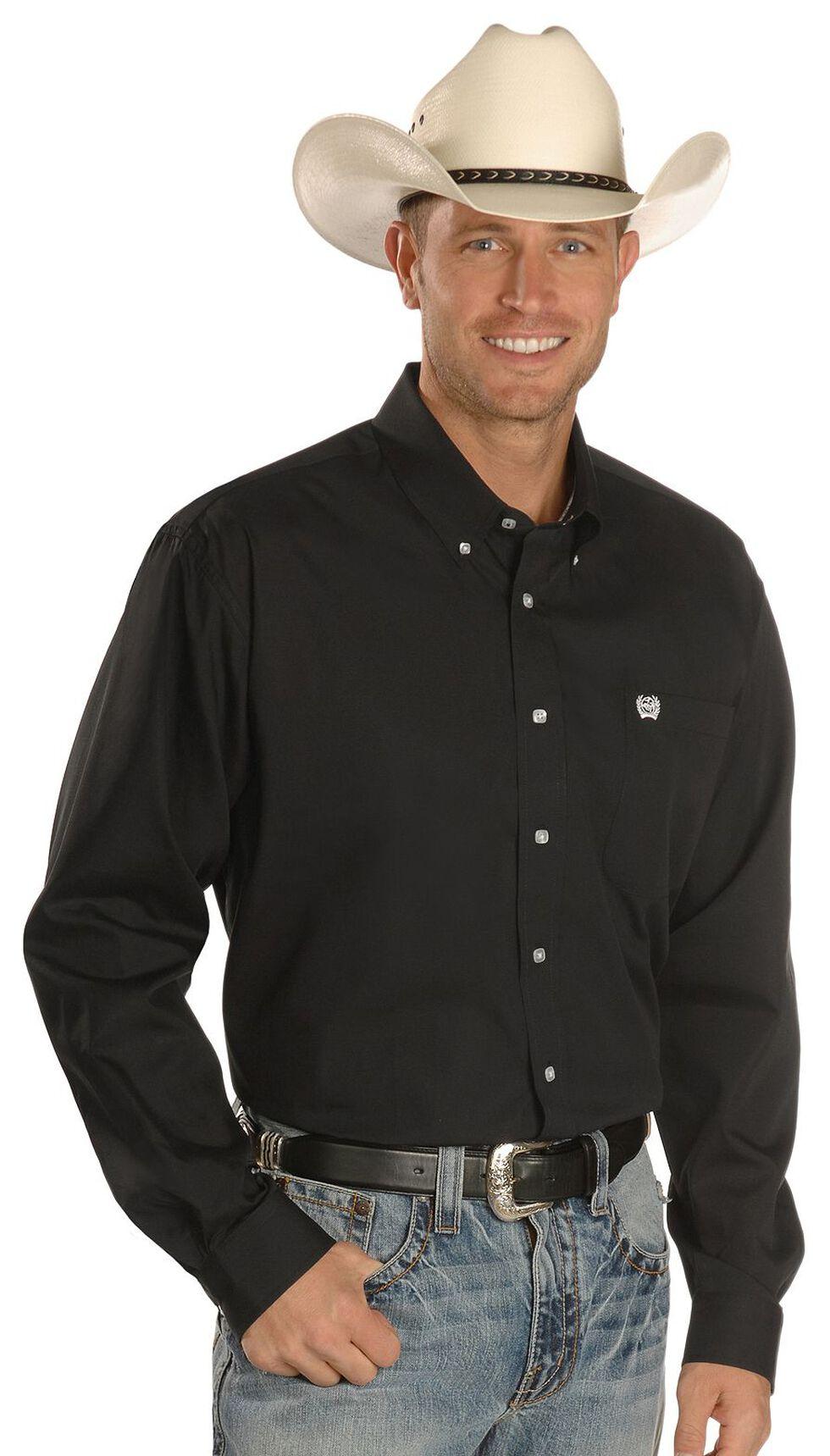Cinch Solid Weave Black Shirt - Big & Tall, Black, hi-res
