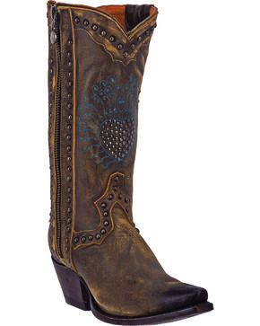 Dan Post Women's Heartbreaker Zipper Cowgirl Boots - Snip Toe, Vintage, hi-res