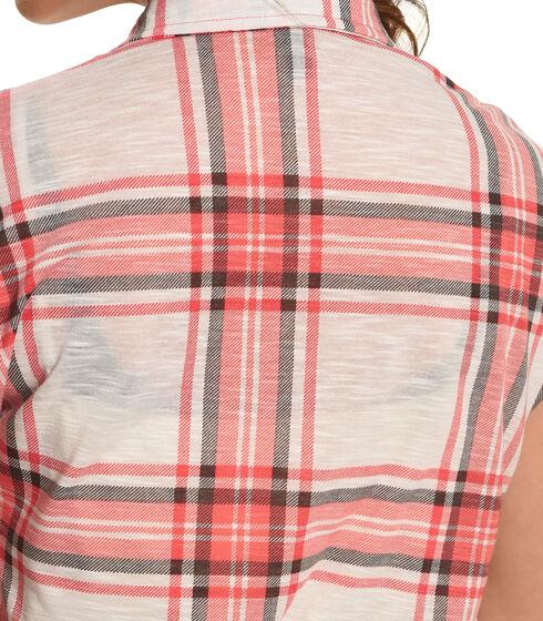 Derek Heart Women's Pink Extended Shoulders Plaid Shirt , Pink, hi-res