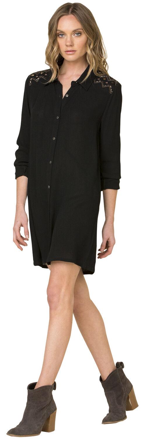 Miss Me Women's Black Forbidden Path Shirt Dress , Black, hi-res