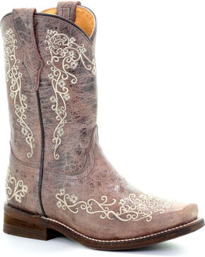 Corral Girls' Brown Crater Bone Scroll Embroidery Boots - Square Toe , Brown, hi-res