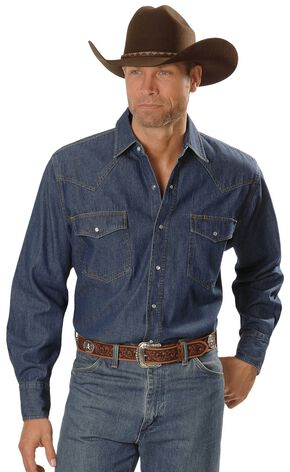 Ely Denim Western Shirt, Denim, hi-res