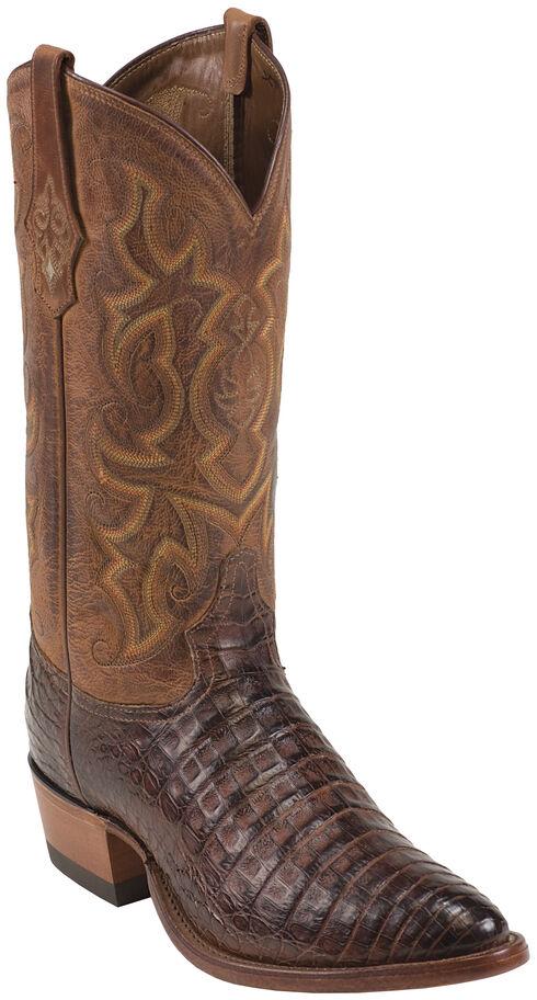 Tony Lama Cognac Vintage Belly Caiman Cowboy Boots - Round Toe , Cognac, hi-res