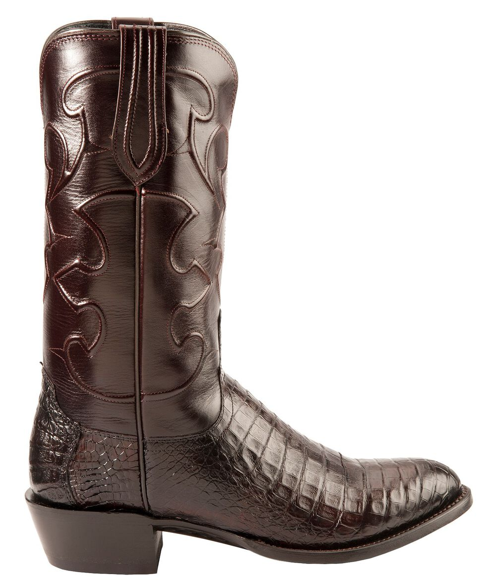 Lucchese Handmade 1883 Black Cherry Crocodile Belly Cowboy Boots - Round Toe, Black Cherry, hi-res