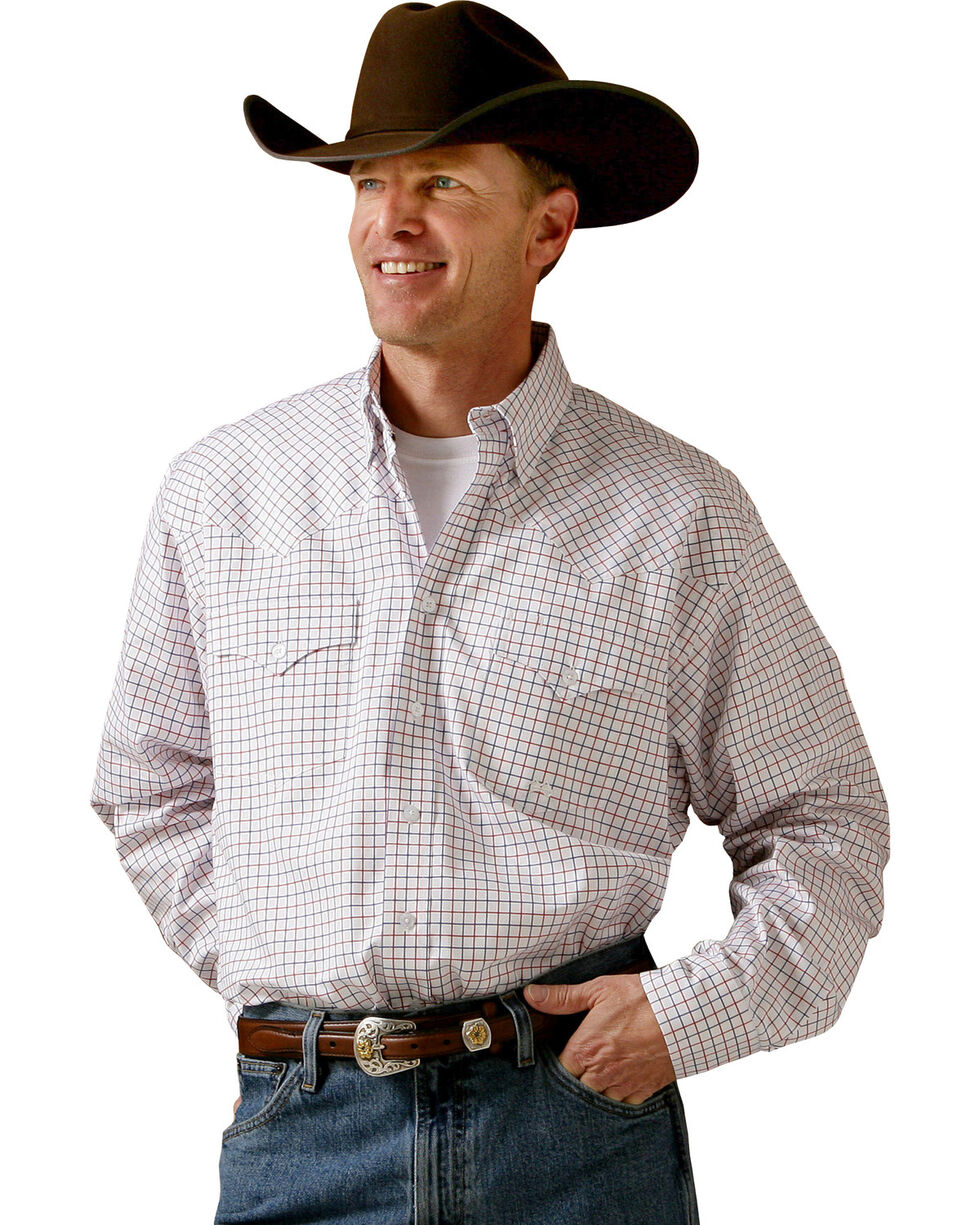 Miller Ranch Red and Blue Plaid Pinpoint Long Sleeve Western Dress Shirt, White, hi-res