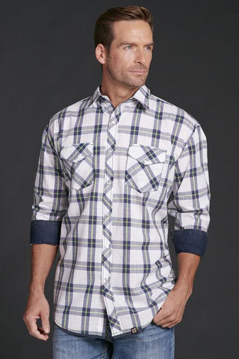 Cowboy Up Men's Plaid Snap Shirt, White, hi-res